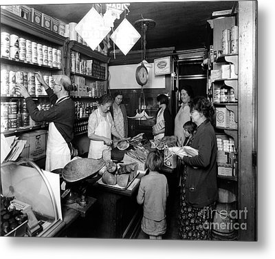 Fred Grovers Grocery Store Metal Print by Photo Researchers
