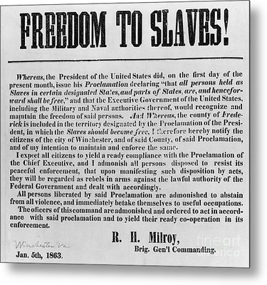 Freedom To Slaves Metal Print by Photo Researchers