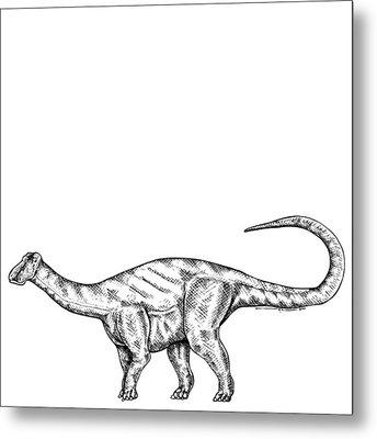 Friendlysaurs - Dinosaur Metal Print by Karl Addison