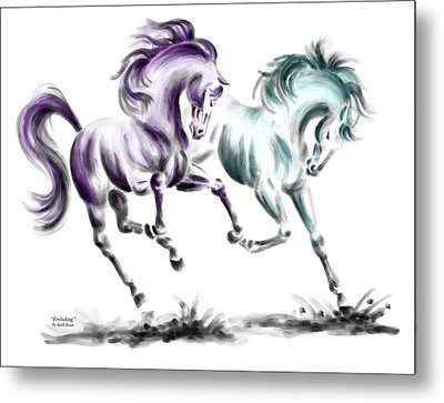 Metal Print featuring the drawing Frolicking - Wild Horses Print Color Tinted by Kelli Swan