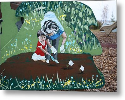 Gardening With Grandma Metal Print