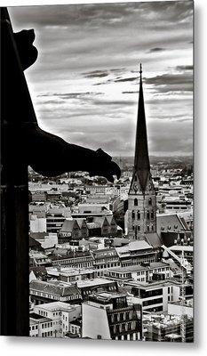 Gargoyle Over Hamburg Metal Print by Edward Myers