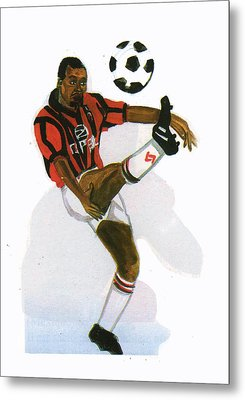 George Weah In Action Metal Print by Emmanuel Baliyanga