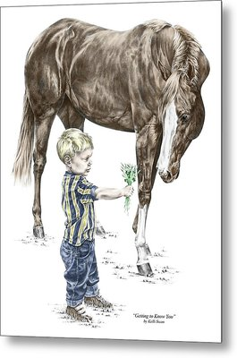 Metal Print featuring the drawing Getting To Know You - Boy And Horse Print Color Tinted by Kelli Swan
