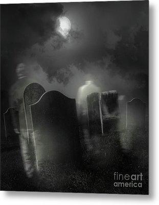Ghosts Wandering In Old Cemetery  Metal Print by Sandra Cunningham