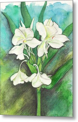 Metal Print featuring the painting Ginger Lilies by Carla Parris