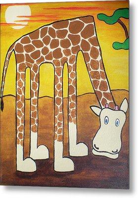 Giraffe Metal Print by Sheep McTavish