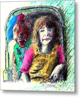 Girl And Dog Oil Pastel Portrait Metal Print by Rom Galicia