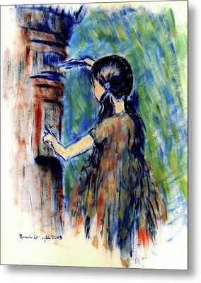 Girl And Letter Box Metal Print by Ricardo Di ceglia