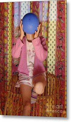 Girl Blowing Up Balloon Metal Print by Sami Sarkis