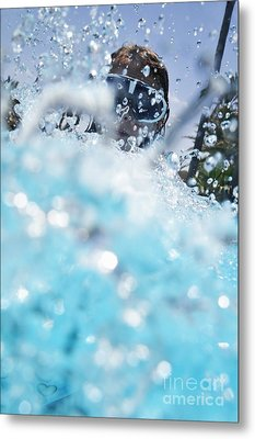 Girl Splashing Water In Swimming Pool Metal Print by Sami Sarkis