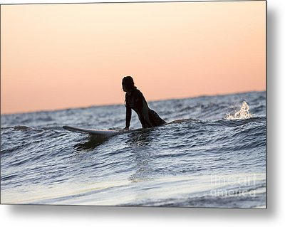 Girl Surfer Catching A Wave In Lake Michigan Metal Print