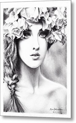 Girl With A Floral Crown Metal Print by Muna Abdurrahman