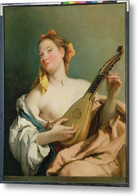 Girl With A Mandolin Metal Print