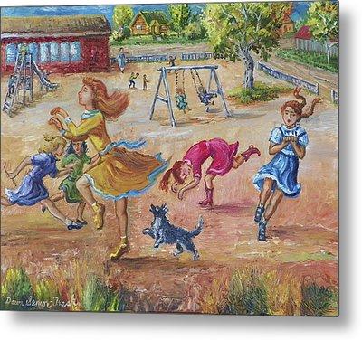 Girls Playing Horse Metal Print by Dawn Senior-Trask
