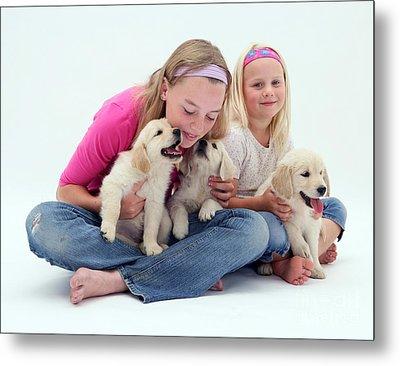 Girls With Puppies Metal Print by Jane Burton