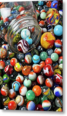 Glass Jar And Marbles Metal Print by Garry Gay