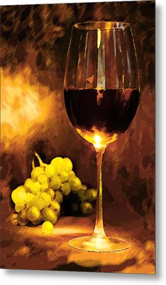 Glass Of Wine And Green Grapes By Candlelight Metal Print by Elaine Plesser