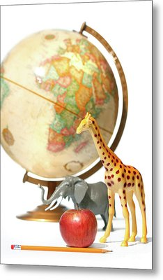 Globe With Toys Animals On White Metal Print by Sandra Cunningham