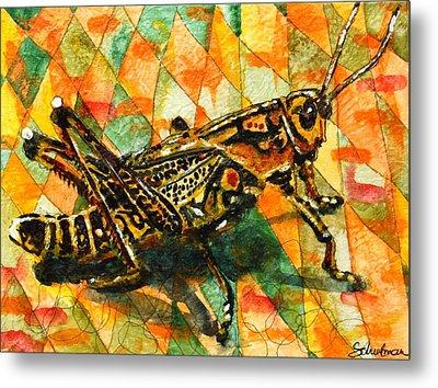 Glorious Grasshopper Metal Print by Miriam  Schulman