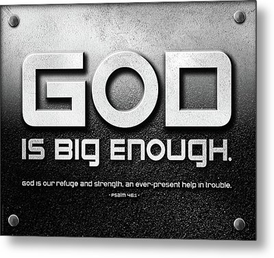 Metal Print featuring the mixed media God Is Big Enough - 2 by Shevon Johnson