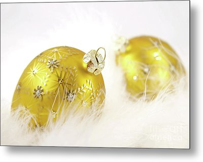 Gold Balls With Feathers Metal Print by Sandra Cunningham