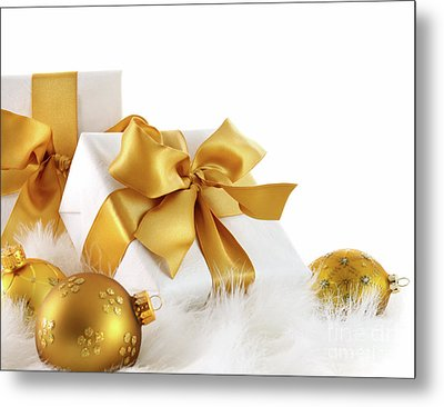 Gold Ribboned Gifts With Christmas Balls  Metal Print by Sandra Cunningham