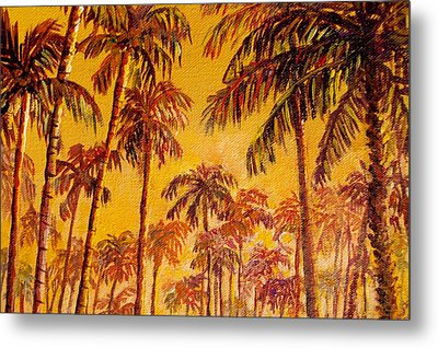 Metal Print featuring the painting Golden Palm Trees by Lou Ann Bagnall