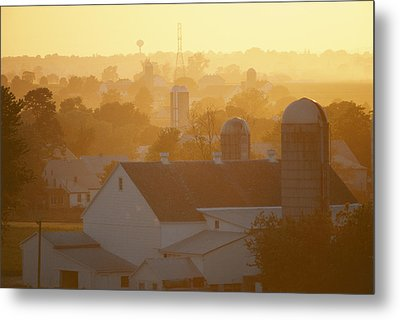 Golden Twilight Upon The Silos And Farm Metal Print by Michael S. Lewis
