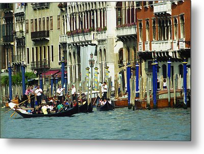 Metal Print featuring the photograph Gondolas In Venice by Emanuel Tanjala
