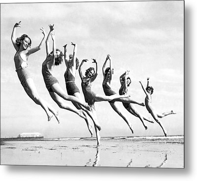 Graceful Line Of Beach Dancers Metal Print by Underwood Archives