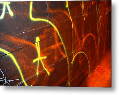Graffiti On A Garage Door In San Metal Print by Raymond Gehman