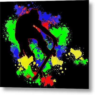 Graffiti Paint Splotches Skateboarder Metal Print by Elaine Plesser