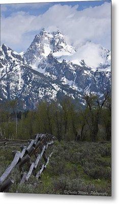 Grand Teton Fence Metal Print by Charles Warren