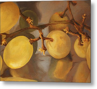 Grapes On Foil Metal Print