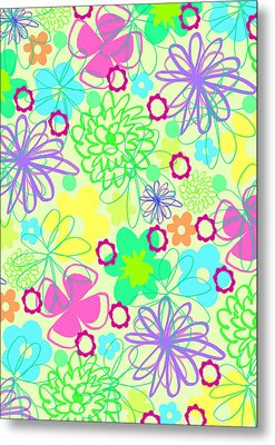 Graphic Flowers Metal Print by Louisa Knight