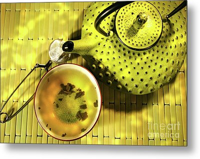 Green Asian Teapot With Cup  Metal Print by Sandra Cunningham