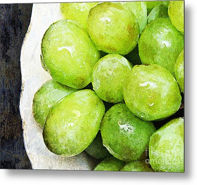 Green Grapes On A Plate Metal Print by Andee Design
