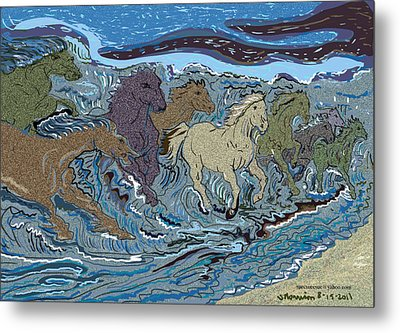 Green Horse Wave Metal Print by Susie Morrison