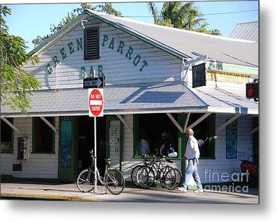 Green Parrot Bar In Key West Metal Print by Susanne Van Hulst