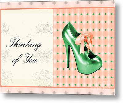 Green Shoe Thinking Of You Metal Print by Maralaina Holliday