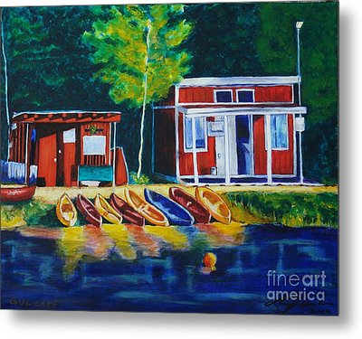 Green Valley Lake Boat House Metal Print