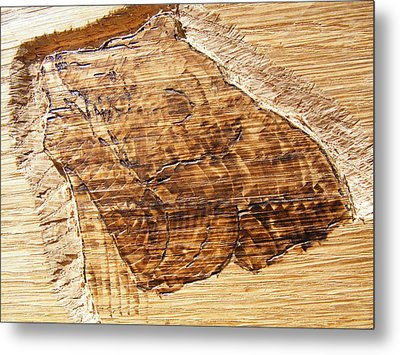 Grizzly Bear Fishing-wood Carving Pyrography Metal Print