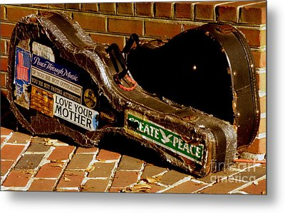 Guitar Case Messages Metal Print by Lainie Wrightson