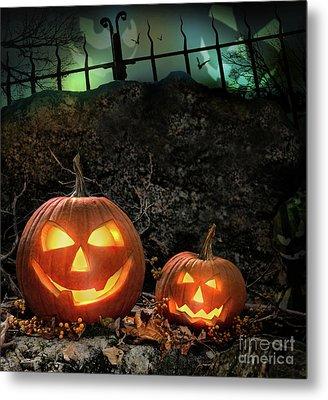 Halloween Pumpkins On Rocks  At Night Metal Print by Sandra Cunningham