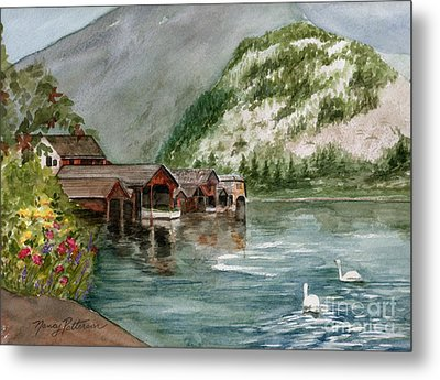 Metal Print featuring the painting Hallstatt In The Spring  by Nancy Patterson