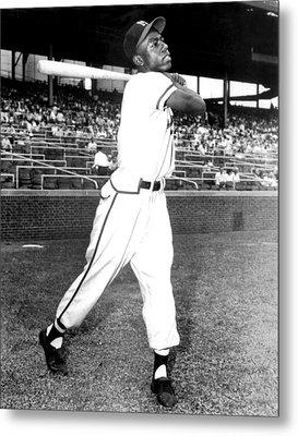 Hank Aaron Of The Milwaukee Braves, Ca Metal Print by Everett