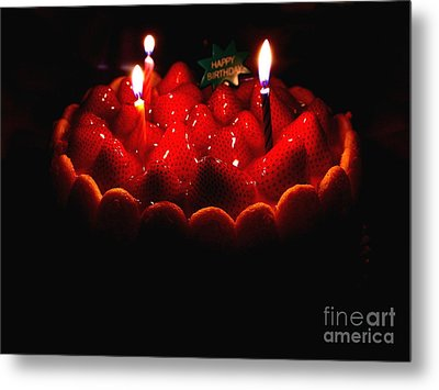 Happy Birthday Strawberry Charlotte Cake Metal Print by Wingsdomain Art and Photography