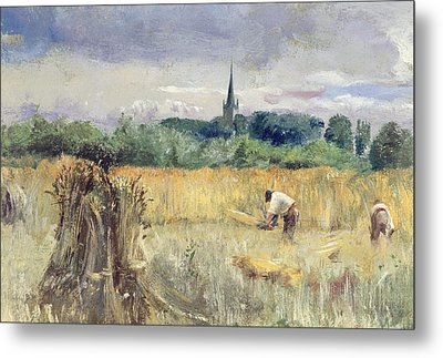 Harvest Field At Stratford Upon Avon Metal Print