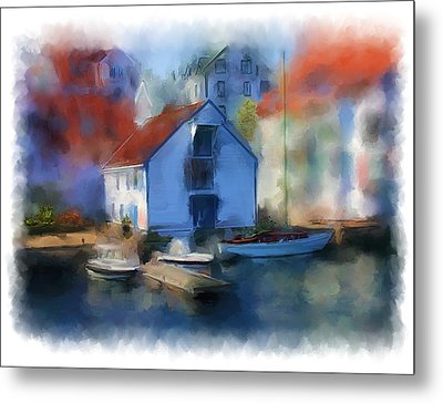 Haugesund Boat House Metal Print by Michael Greenaway